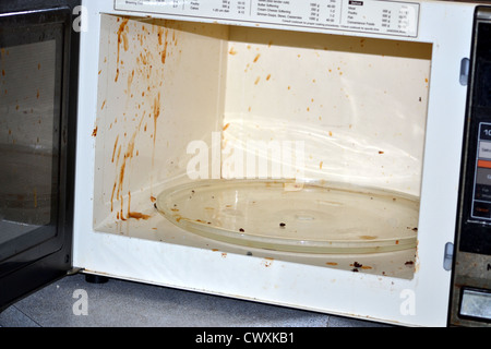 Dirty old microwave - Stock Photo