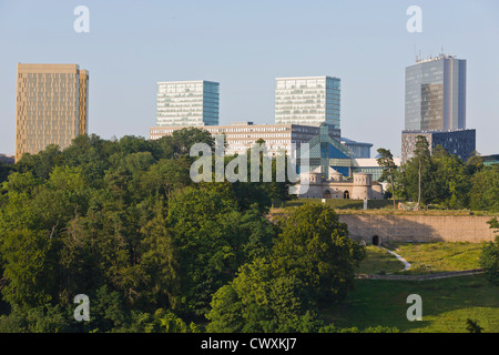 Luxembourg City - Kirchberg Silhouette with Three Acorns, Mudam and High Rises (European Court of Justice and Twin - Stock Photo