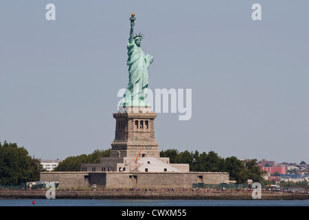 The Statue of Liberty as seen from the Staten Island Ferry - Stock Photo
