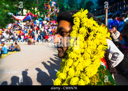 High cast Kshatriyas at the Nagar Festival, Kullu Valley, Himachal Pradesh, Northern India - Stock Photo