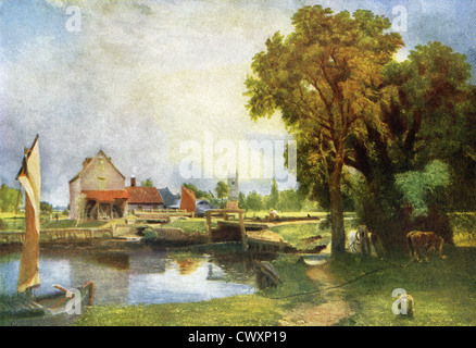 This sketch, titled Dedham Mill, is by John Constable (1776–1837), an English Romantic painter. - Stock Photo