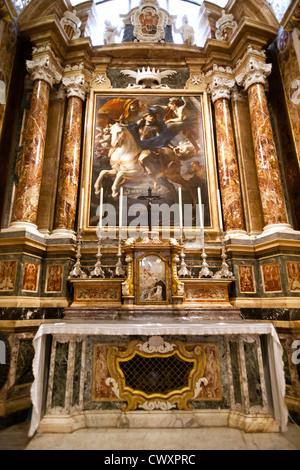 Vertical interior shot of St John's Co-Cathedral in St John's Square, Valletta, Island of Malta, Mediterranean Sea - Stock Photo