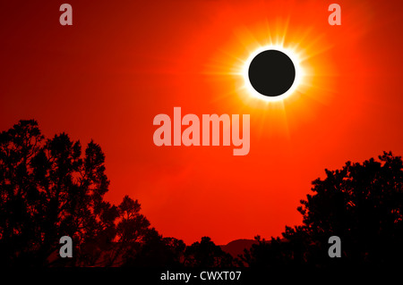 Composite view of annular solar eclipse from off U.S. Highway 89, southern Utah. - Stock Photo