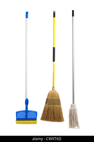 Sponge mop, straw broom and a string mop on a white background - Stock Photo