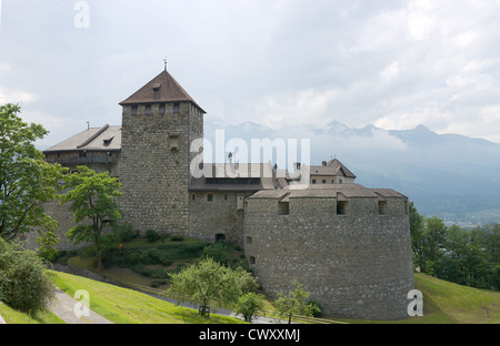 Vaduz castle (founded XII century), the palace and official residence of the Prince of Liechtenstein - Stock Photo
