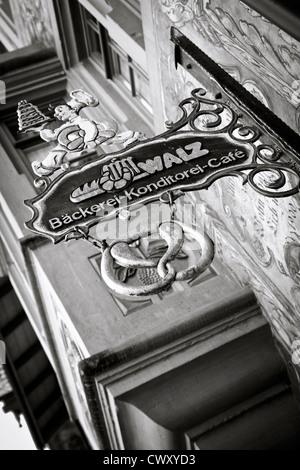 Shot of bakery sign in Stein am Rhein, Switzerland. - Stock Photo