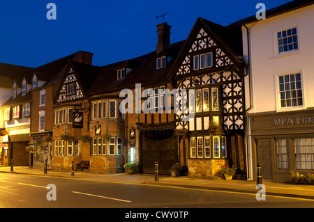 The White Swan Hotel at night, Henley-in-Arden, Warwickshire, UK - Stock Photo
