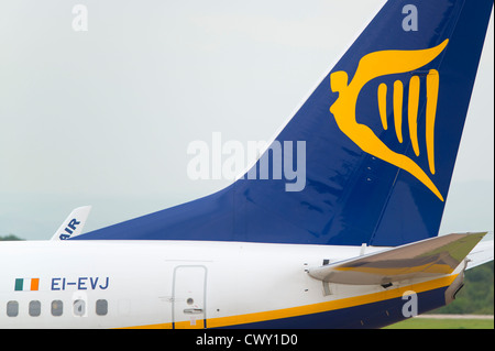 A close up of the Ryanair logo on the tail fin of a passenger aircraft (Editorial use only) - Stock Photo