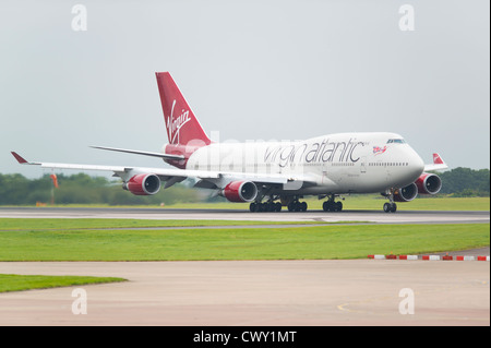 A Virgin Atlantic Boeing 747 Jumbo Jet about to take off from Manchester International Airport (Editorial use only) - Stock Photo
