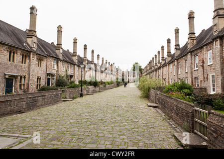 Vicars Close in Wells Somerset. View of what is claimed to be the oldest purely residential street in Europe. - Stock Photo