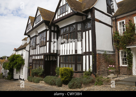 Rye East Sussex England UK Half Timbered and period houses in Medieval cobbled Mermaid Street - Stock Photo