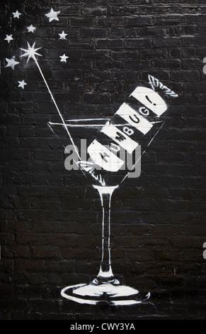 Bar Humbug night club emblem on painted wall graphic design mural - Stock Photo