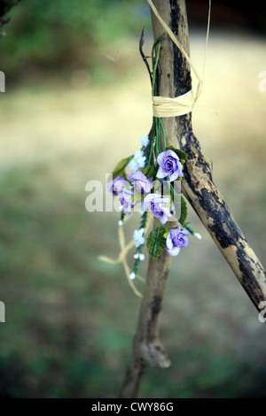 Posy of flowers tied to a branch for a wedding in France - Stock Photo