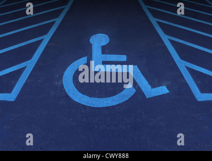 Handicapped and disabled symbol as a parking space with a wheelchair painted on asphalt as a health care and medical - Stock Photo