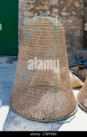 Traditional style fish trap on the Island of Gozo, Mediterranean Sea - Stock Photo