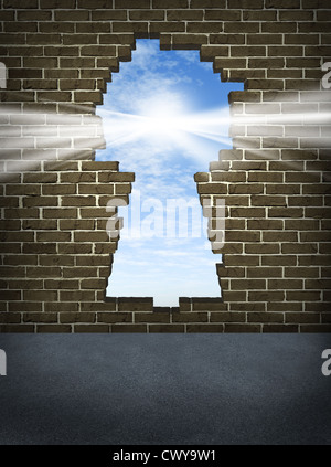 Break through and the solution or answer to success as a breaking down walls concept for business or a free your - Stock Photo