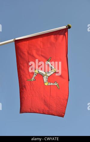 Isle of Man flag, West Street, Dorking, Surrey, England, United Kingdom - Stock Photo