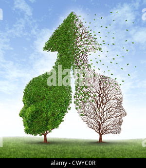 Partnership problems with two trees in the shape of human heads merged together into an up arrow and one of the - Stock Photo