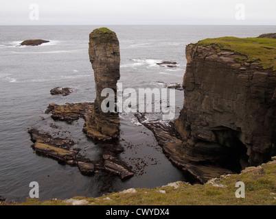 Yesnaby castle sea stack, Mainland, Orkney, Scotland - Stock Photo
