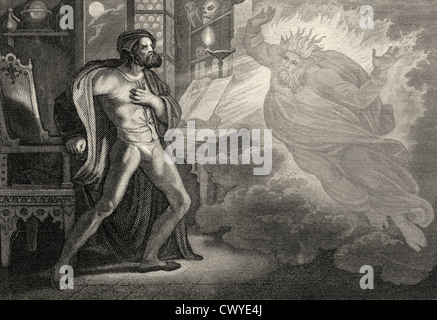 arth spirit glaring at Heinrich Faust, a scene from the tragedy Faust by Johann Wolfgang von Goethe - Stock Photo