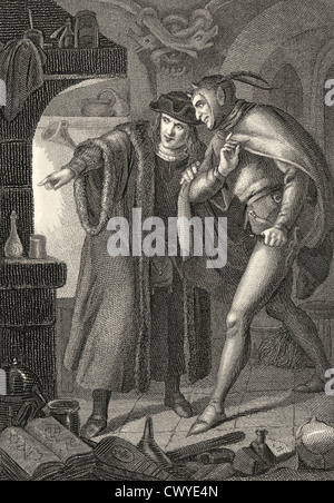 Faustian pact between Mephistopheles or Mephisto and Heinrich Faust, scene from the tragedy Faust by Johann Wolfgang - Stock Photo
