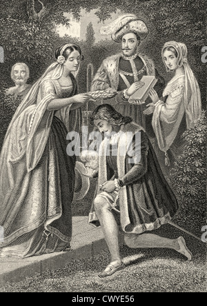 Princess Leonore putting the laurel wreath on Torquato Tasso's head, Torquato Tasso, a play by Johann Wolfgang von - Stock Photo