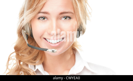 Portrait of customer service and call centre operator woman isolated on white background. Smiling girl in headset - Stock Photo