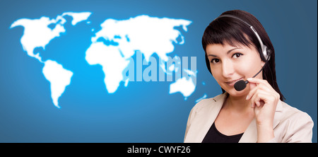 Customer support over the world map. - Stock Photo