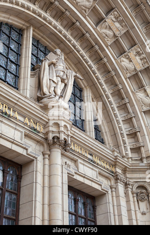 Detail of the arched doorway of the Victoria and Albert Museum, London, England - Stock Photo