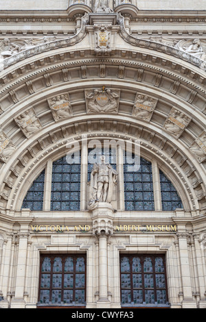 Arched doorway of the Victoria and Albert Museum, London, England - Stock Photo