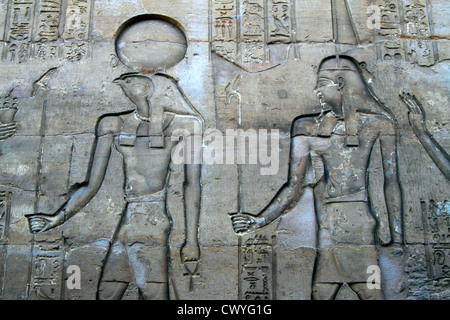 Hieroglyphs and relief in the Temple of Kom Ombo, Egypt - Stock Photo