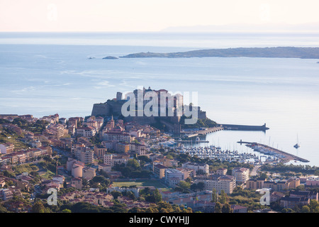 Calvi in early morning, Corsica, France - Stock Photo