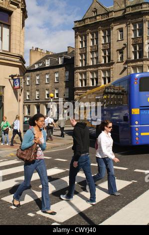 Pedestrian Crossing, George Street, Edinburgh. - Stock Photo
