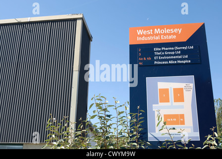 pillar sign for west molesey industrial estate, surrey, england - Stock Photo