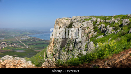Israel, Lower Galilee, Arbel mountain, The Sea of Galilee in the background - Stock Photo