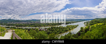 View above River Rhine at Remagen, Germany - Stock Photo