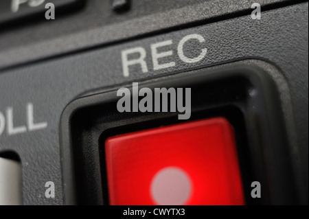 Macro shot of the red color 'Record' button. - Stock Photo