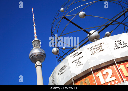 Television tower and world clock at the Alexanderplatz, Berlin, Germany - Stock Photo