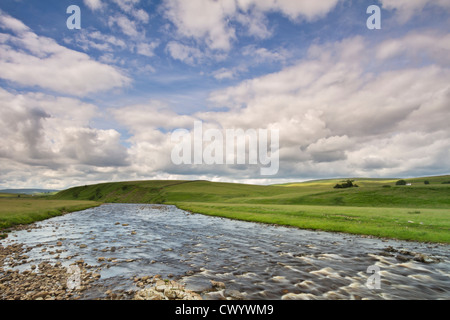 The River Tees near Forest-in-Teesdale from a bridge along the route of the Pennine Way, County Durham, England - Stock Photo