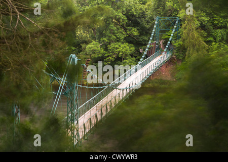 Footbridge from Dryburgh to St. Boswells over the River Tweed, Scottish Borders, Scotland - Stock Photo