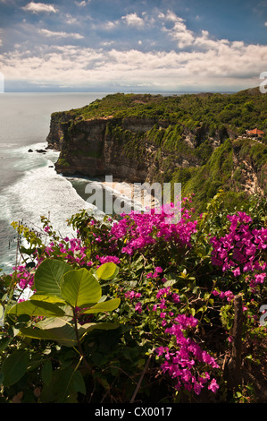 View along the coast from the grounds of the Pura Luhur Uluwatu temple on southern Bali's Bukit Peninsula, Bali, - Stock Photo