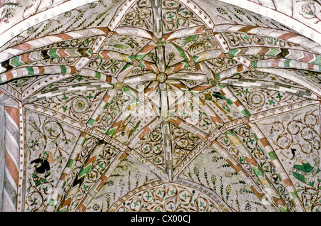 15th century ceiling murals inside St. Clement's Church in Sauvo, Finland - Stock Photo