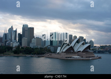 Sailing into Sydney past the Opera House at day break, Sydney, New South Wales, Australia - Stock Photo