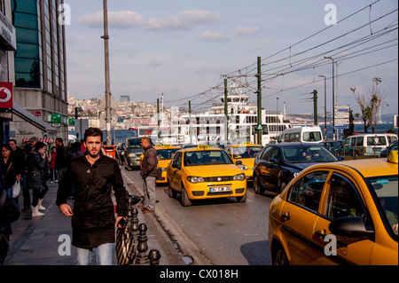 Rush hour in the Sirkeci district in Istanbul Turkey - Stock Photo