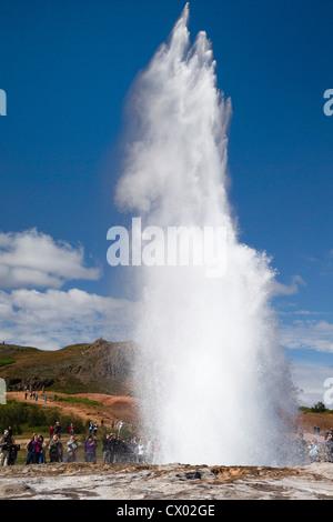 Strokkur Geyser erupting, Iceland - Stock Photo