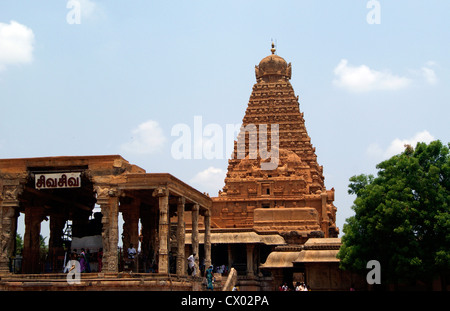 Tanjore Brihadeeswarar Temple full front and side VIew.'Big Temple' in Thanjavur is the Stone Architectural Masterpiece - Stock Photo