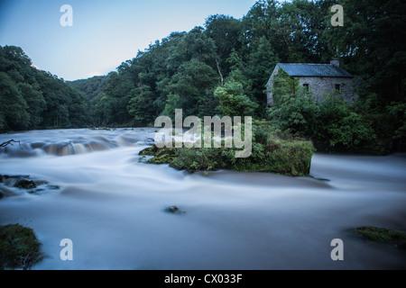 Cenarth falls on the River Teifi near Cardigan, Carmarthenshire. - Stock Photo
