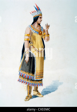 Wife of Native American Chief, Watercolor Painting by William L. Wells for the Columbian Exposition Pageant, 1892 - Stock Photo