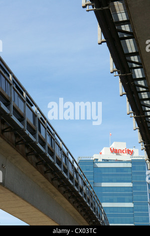 The SkyTrain elevated public transportation system in Vancouver, British Columbia, Canada - Stock Photo