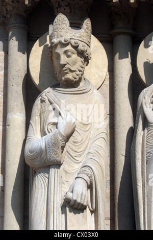 King, Notre Dame Cathedral, Paris, Portal of St. Anne - Stock Photo